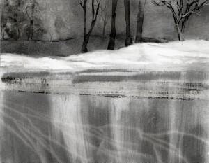 Winter Lake, charcoal drawing
