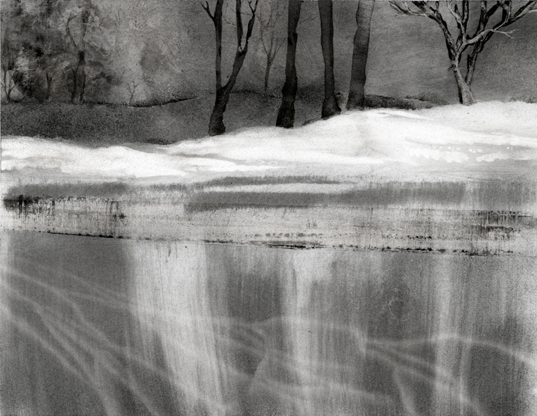 Winter Lake, charcoal drawing