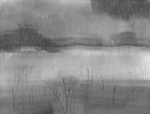 Nocturne, charcoal dust drawing