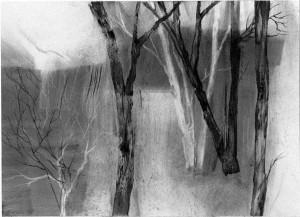 Along the Bank, charcoal drawing