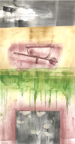 April, drawing of a wheelbarrow