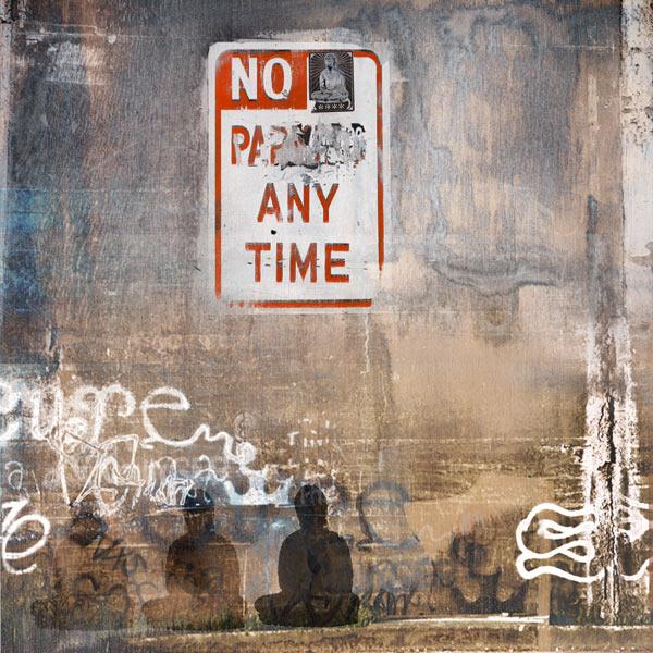 Street Art, urban collage with Buddha,