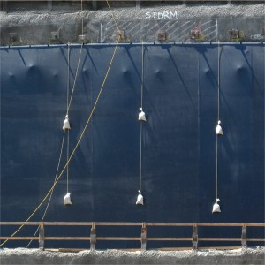 Blue Tarp with Hanging Weights