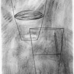 """Dialog Between an Optimist and a Pessimist, 8"""" x 6"""", charcoal"""