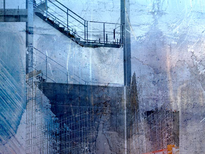 The_Blue_Stair_Mixed_Media_Collage