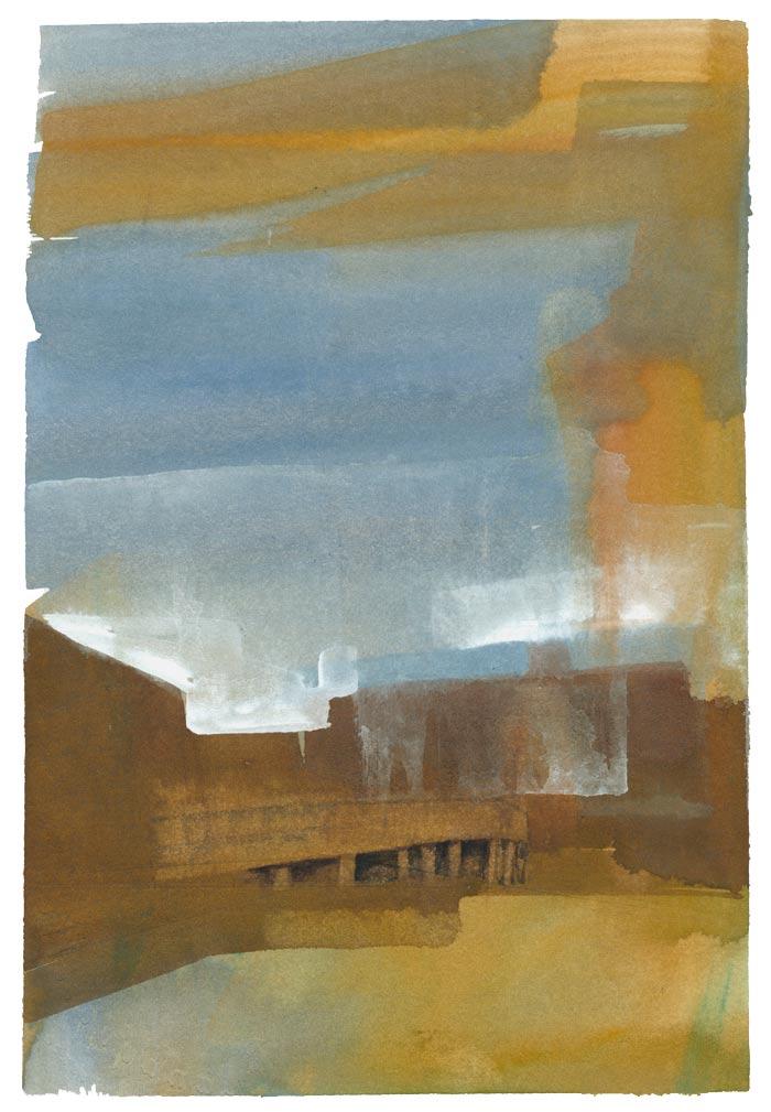 Wharf Under Clouds Gouache Painting