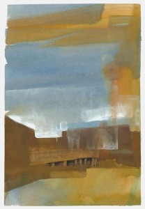 Wharf Under Cloud, gouache on hot press paper