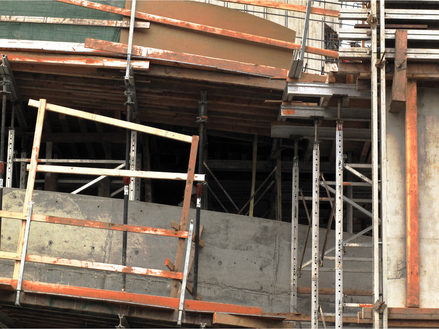 Composition With Boards & Scaffold