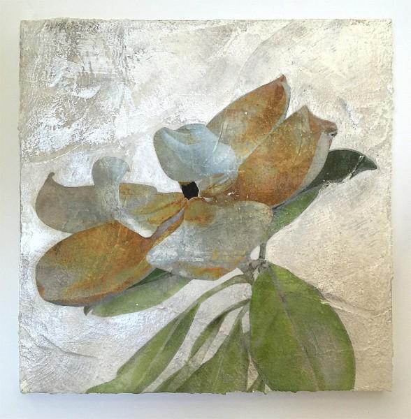 magnolia mixed media on plaster by Iskra Fine Art