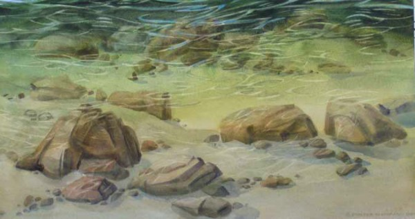 """Carraxco """"Reflected Light"""" watercolor of a river"""