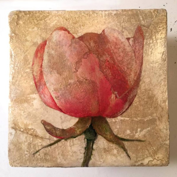 Rose, Mixed media on plaster by Iskra