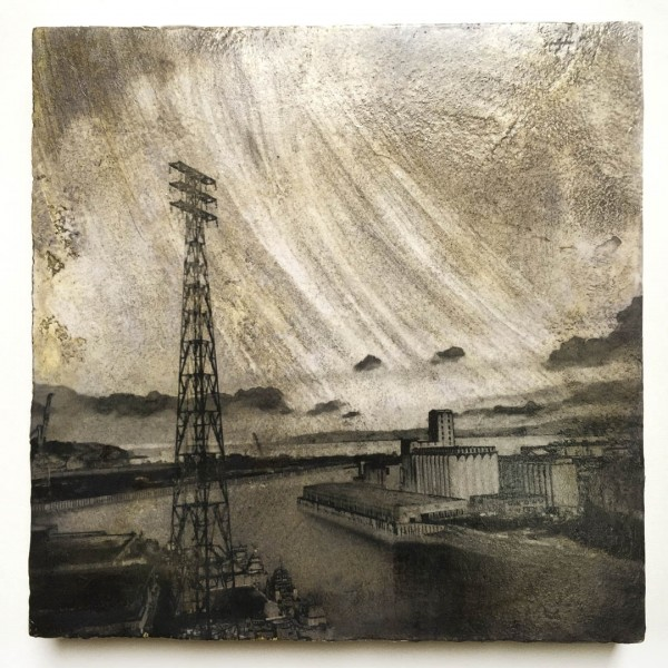 Vie from the River, © Iskra Johnson, industrial landscape on plaster