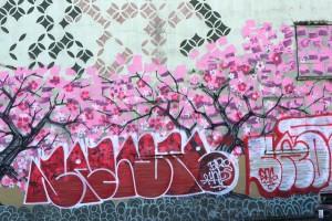 Cherry Blossoms wall graffiti in Chinatown/ID Seattle, © Iskra Johnson
