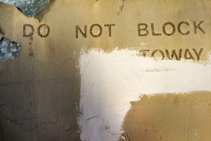 """Do Not Block"" Chinatown graffiti © Iskra"