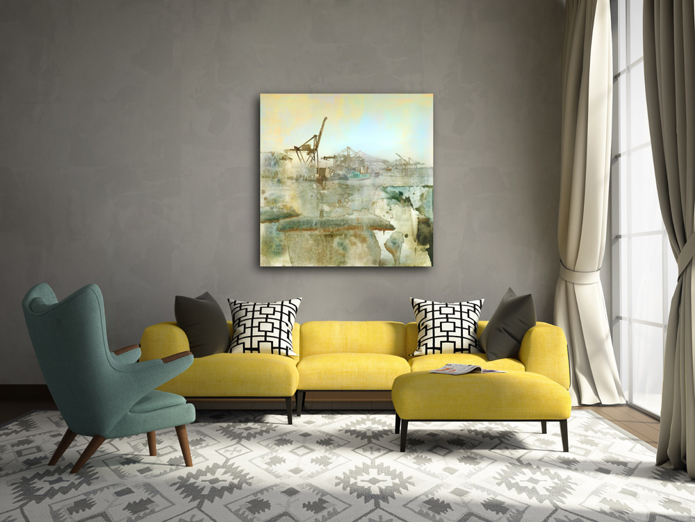 """Celadon"" limited edition inustrial art on canvas by Iskra"