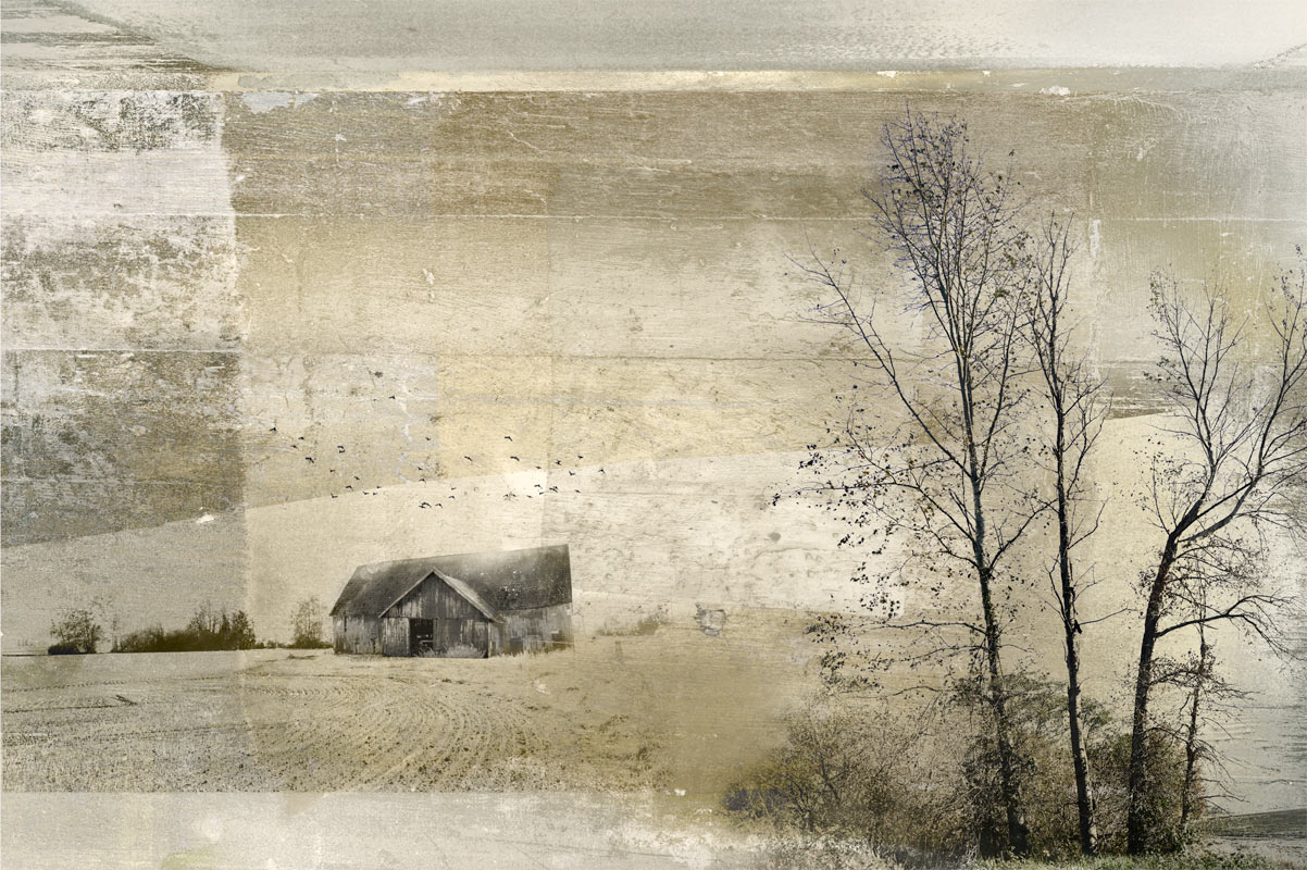 Barn Landscape 2 Print by Iskra