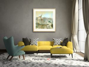 """""""Celadon"""" print on canvas in room"""