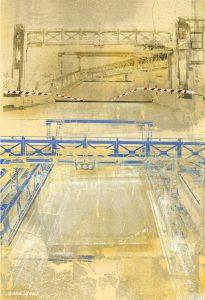 Blue Bascule Print by Iskra