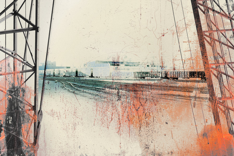 Trainyard, Curtain View, print by Iskra