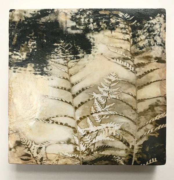 Iskra Miniature art ferns on venetian plaster