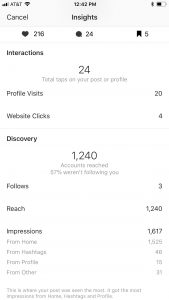 Instagram business account stats