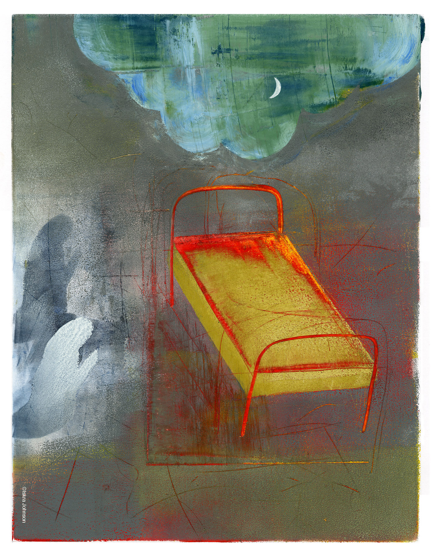 The Red Bed, Painting by Iskra