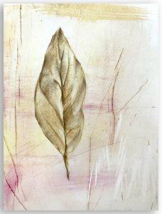 Leaf Pastel Drawing by Iskra