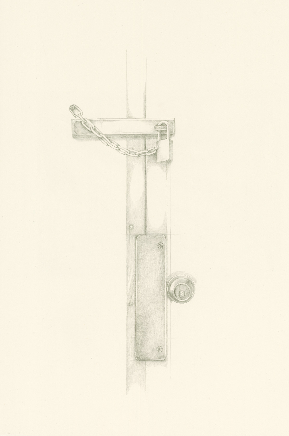 Lock and chain drawing by Iskra
