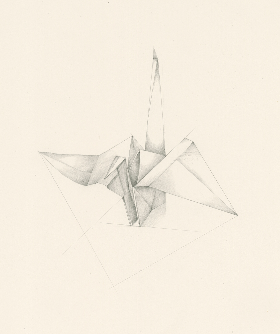 Origami crane pencil drawing by Iskra