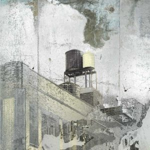 Silver Sky Water Tower print by Iskra