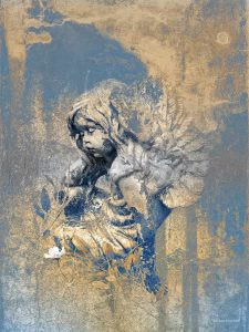 Blue Angel Cherub Print by Iskra