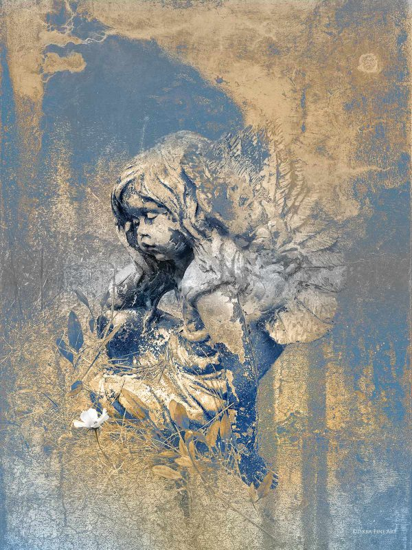 Blue Angel Cherub Print by Iskra
