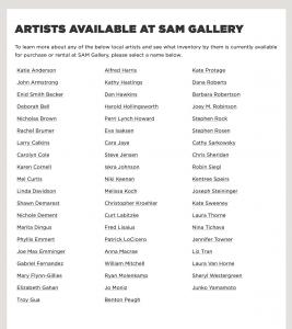 Seattle Art Museum Gallery artist Inventory