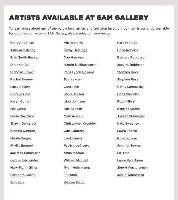 Seattle Art Museum Gallery artist Inventory