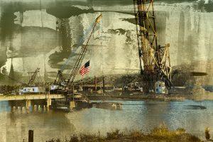 The Golden Hour American Flag Landscape by Iskra