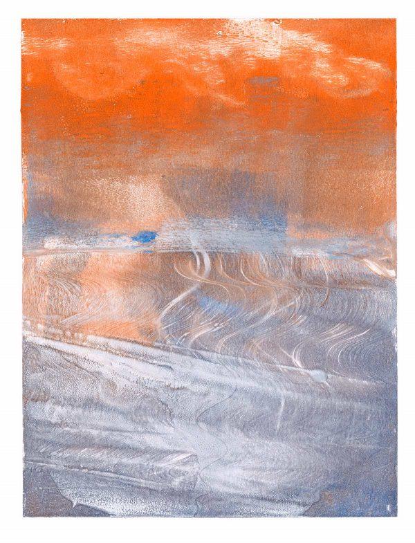 Wave Patterns Monoprint by Iskra